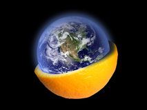 Earth into the orange Royalty Free Stock Photo