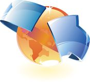 Earth orange and arrow Royalty Free Stock Image