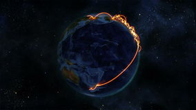 Earth with orange connections turning on itself with Earth image courtesy of Nasa.org stock video