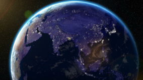 Earth Orbit Night - City Lights from Space (Asia) stock video