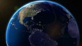 Earth Orbit Night - City Lights from Space. High resolution raytraced animation render of Earth rotating, lights from the cities visible on the dark side stock video