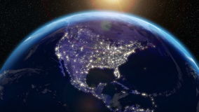 Earth Orbit Night - City Lights from Space (USA) stock video footage