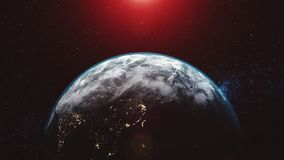 Earth orbit planet skyline flare sun beam glow vector illustration