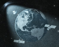 Earth and orbiting satellites Stock Photo