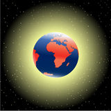 Earth in outer space. Earth in dark outer space stock illustration