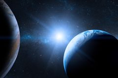Earth in the outer space with beautiful planet. Stock Photo