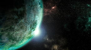 Earth from outer space. Planet earth rendered in detailed view from outer space stock images