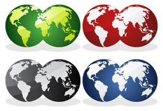Earth over continents. Earth globes over continents. Vector Stock Photography