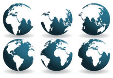 Earth over continents. Earth globes over continents. Vector vector illustration