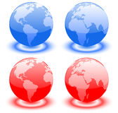 Earth over continents. Earth globes over continents. Planet Royalty Free Stock Photos