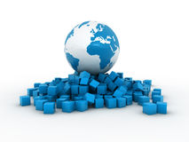 Earth over cubes. 3d render illustration Royalty Free Stock Photos