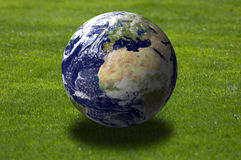 Earth over grass field Royalty Free Stock Photo