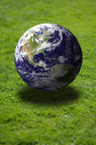 Earth over grass field Royalty Free Stock Photography
