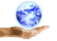 Earth over Hand Stock Photos