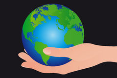 Earth over hand Stock Image
