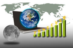 Earth over laptop with currency graph and moon Stock Image