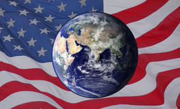 Earth over the USA Flag Royalty Free Stock Photography