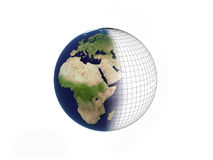 Earth over white. Background with mesh Stock Image