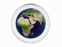 Earth over white. Earth in black 3d mesh Royalty Free Stock Image