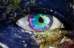 The earth overlay on face Royalty Free Stock Photos