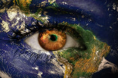 The earth overlay on face Royalty Free Stock Photography