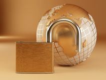 Earth with padlock Stock Image