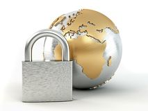 Earth with padlock Stock Photo