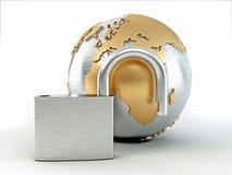 Earth with padlock Stock Photo