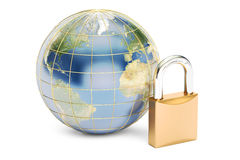 Earth with padlock, protect concept. 3D rendering isolated Stock Photo