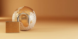 Earth with padlock on yellow background Stock Photos