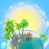 Earth with palms and sun Royalty Free Stock Images