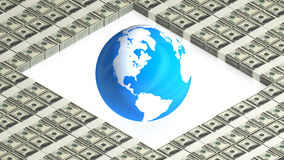 Earth on paper dollars Royalty Free Stock Photos