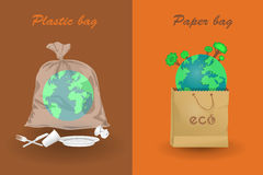 Earth in paper and plastic bags Stock Image