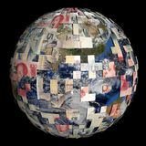 Earth partially covered by Chinese Yuan sphere Stock Photo