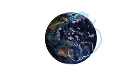 Earth passes across the screen and a video of business people with Earth image courtesy of Nasa.org Royalty Free Stock Photography