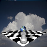 Earth Pawn. Pawn topped with earth globe Stock Photography