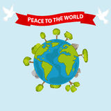 Earth. Peace dove with the words Peace - World. Flat design, vector illustration, vector stock illustration