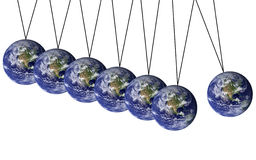 Earth pendulum. The earth swinging back and forth in a risky way Royalty Free Stock Images