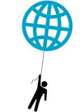 Earth person rises lifted by a globe balloon stock illustration