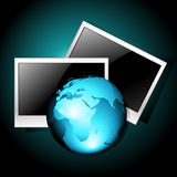 Earth with photo frames Royalty Free Stock Image