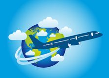 Earth and plane Royalty Free Stock Photo