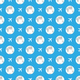 Earth and plane pattern Royalty Free Stock Photo