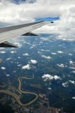 Earth and plane wing Stock Image