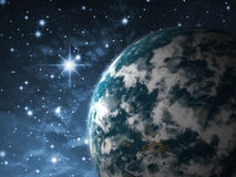 Earth  planet. Earth-like Fiction planet in outer space Stock Photo
