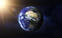 Earth Planet. 3d Earth Planet (sunrise in space, the formation Stock Photography