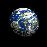 Earth planet. 3D rendered blue planet Earth with atmosphere in space (over black background Royalty Free Stock Image