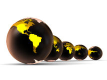 Earth Planet abstract. 3D render image representing earth in black color with gold continents Stock Photos