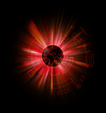 Earth planet Abtract. With red rays Royalty Free Stock Images