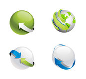 Earth Planet with Arrow Around Collection Stock Photos