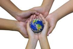 Earth planet in  asian Children hand isolated on white Royalty Free Stock Images